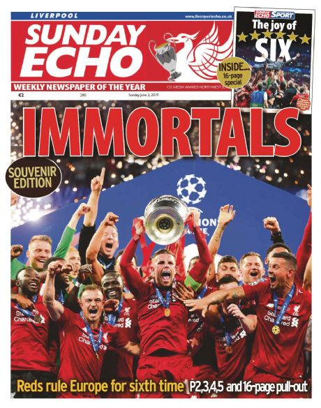 IMMORTALS - Souvenir edition Sunday Echo - 2nd June
